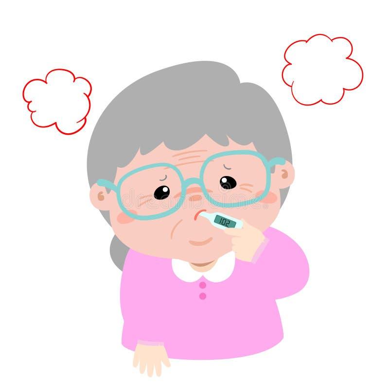 Αποκτημένα γιαγιά υψηλής θερμοκρασίας κινούμενα σχέδια πυρετού διανυσματική απεικόνιση