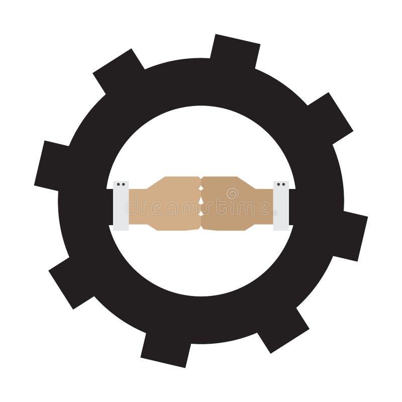 Απομονωμένες πυγμές σε ένα εργαλείο Εικονίδιο ομαδικής εργασίας διανυσματική απεικόνιση