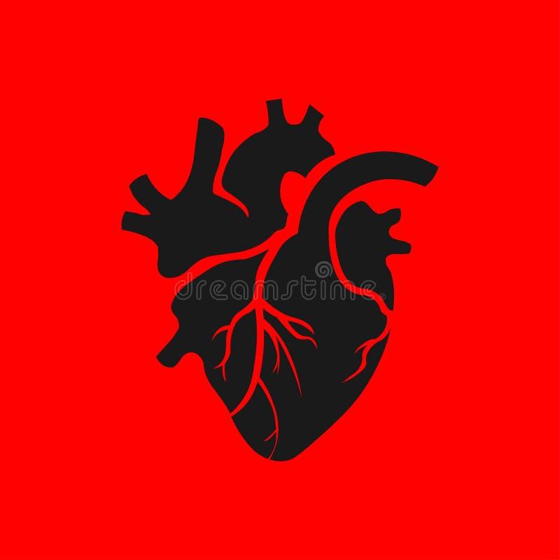 Απομονωμένη μαύρη ανθρώπινη απεικόνιση καρδιών στο κόκκινο υπόβαθρο Εικονίδιο καρδιών στο επίπεδο ύφος Του ST ημέρα βαλεντίνων να διανυσματική απεικόνιση