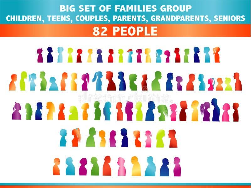 Απομονωμένη μεγάλη ομάδα συνόλου οικογενειακής παραγωγής Χρωματισμένη σκιαγραφία στο σχεδιάγραμμα Πρόσωπο κεφάλι κοινότητα Επικοι απεικόνιση αποθεμάτων