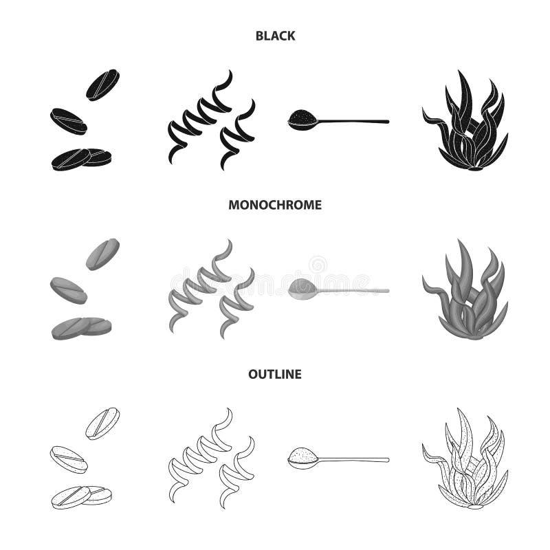 Απομονωμένο αντικείμενο του εικονιδίου πρωτεΐνης και θάλασσας Σύνολο πρωτεϊνικού και φυσικού διανυσματικού εικονιδίου για το απόθ διανυσματική απεικόνιση
