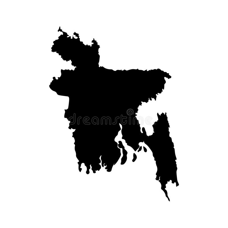 Απομονωμένο διάνυσμα εικονίδιο απεικόνισης με τον απλουστευμένο χάρτη της Λαϊκής Δημοκρατίας του Μπανγκλαντές απεικόνιση αποθεμάτων