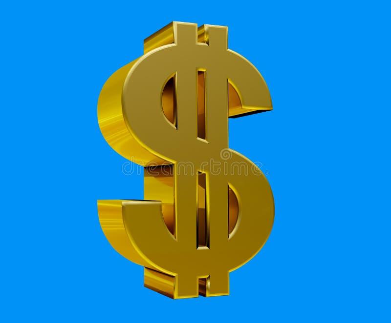 Απομονωμένο το αποταμίευση δολαρίων υπόβαθρο chromakey σημαδιών μπλε αγοράζει τη χρυσή τρισδιάστατη απεικόνιση ενέχυρων οικονομία διανυσματική απεικόνιση