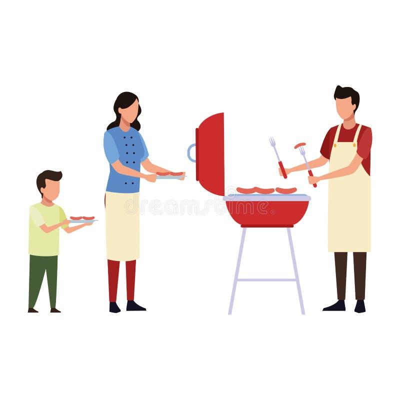 Απρόσωπα τρόφιμα οικογενειακών μαγειρεύοντας σχαρών διανυσματική απεικόνιση