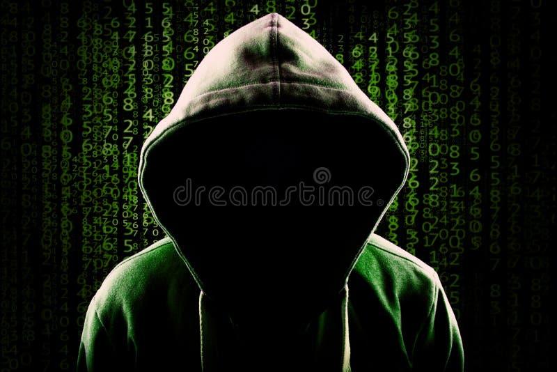 Απρόσωπο με κουκούλα ανώνυμο υπόβαθρο κώδικα προγραμματισμού χάκερ υπολογιστών στοκ εικόνες με δικαίωμα ελεύθερης χρήσης