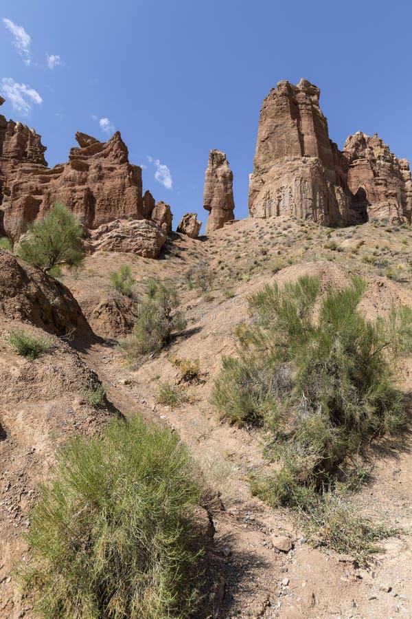 Απόψεις μέσα στο φαράγγι Charyn στους κοκκινωπούς απότομους βράχους ψαμμίτη Το φαράγγι καλείται επίσης κοιλάδα των κάστρων στοκ φωτογραφίες με δικαίωμα ελεύθερης χρήσης