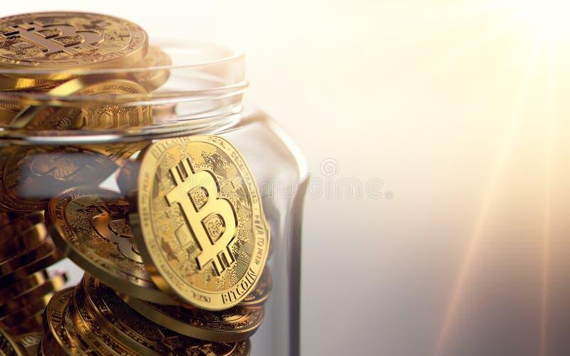 Βάζο με χρυσό Bitcoin Τρόποι τη δημιουργική έννοια cryptocurrencies τρισδιάστατη απόδοση ελεύθερη απεικόνιση δικαιώματος