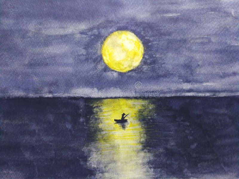 Βάρκα τοπίων Watercolor και το άτομο μόνο στον ωκεανό με την πλήρη κίτρινη αντανάκλαση φεγγαριών στο νερό στοκ εικόνες