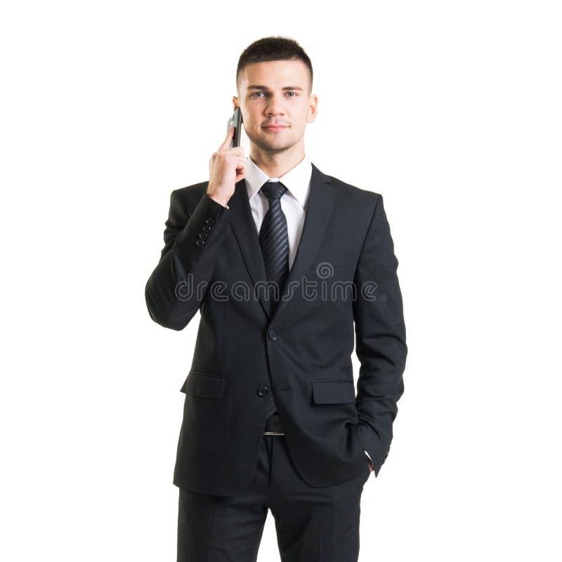 Βέβαιο άτομο σε formalwear Επιχειρηματίας στο κοστούμι που απομονώνεται στο λευκό στοκ εικόνα