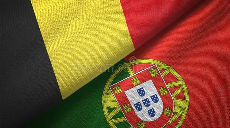 Βέλγιο και Πορτογαλία δύο υφαντικό ύφασμα σημαιών, σύσταση υφάσματος διανυσματική απεικόνιση