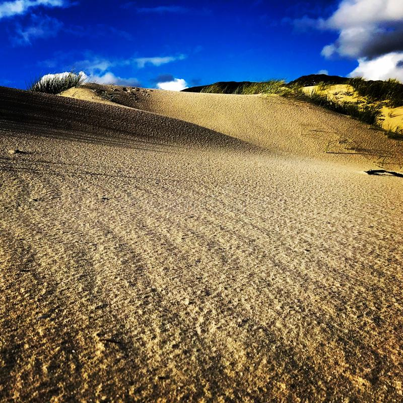 βήματα άμμου της Ρωσίας kurshskaya kosa οριζόντων αμμόλοφων που τεντώνουν Σύννεφα Σχέδια κυμάτων στην άμμο στοκ φωτογραφίες
