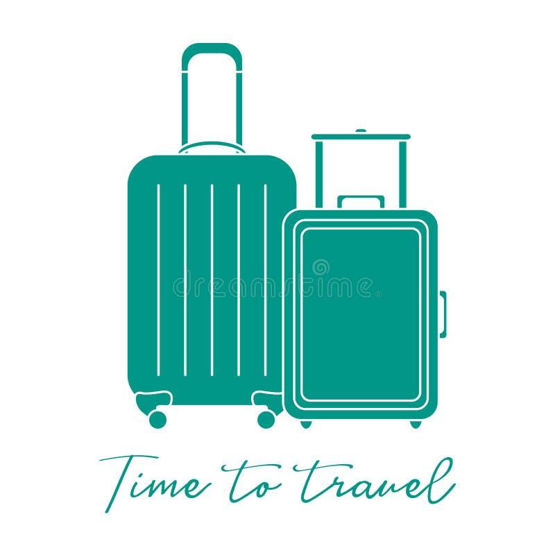 βαλίτσες δύο Θερινός χρόνος, διακοπές leisure διανυσματική απεικόνιση