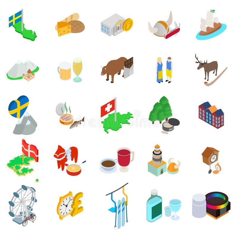 Βαλτικά εικονίδια χωρών καθορισμένα, isometric ύφος απεικόνιση αποθεμάτων