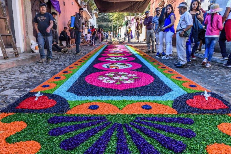 Βαμμένος παραχωρήσώντας πριονίδι τάπητας, Αντίγκουα, Γουατεμάλα στοκ εικόνα με δικαίωμα ελεύθερης χρήσης