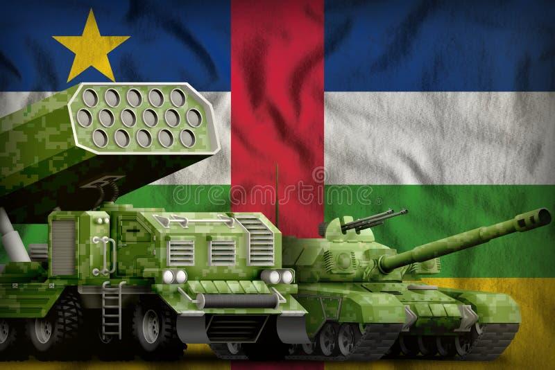 Βαριά στρατιωτική έννοια τεθωρακισμένων οχημάτων Κεντροαφρικανικής Δημοκρατίας στο υπόβαθρο εθνικών σημαιών τρισδιάστατη απεικόνι απεικόνιση αποθεμάτων