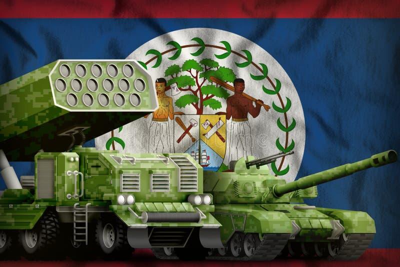 Βαριά στρατιωτική έννοια τεθωρακισμένων οχημάτων της Μπελίζ στο υπόβαθρο εθνικών σημαιών τρισδιάστατη απεικόνιση διανυσματική απεικόνιση