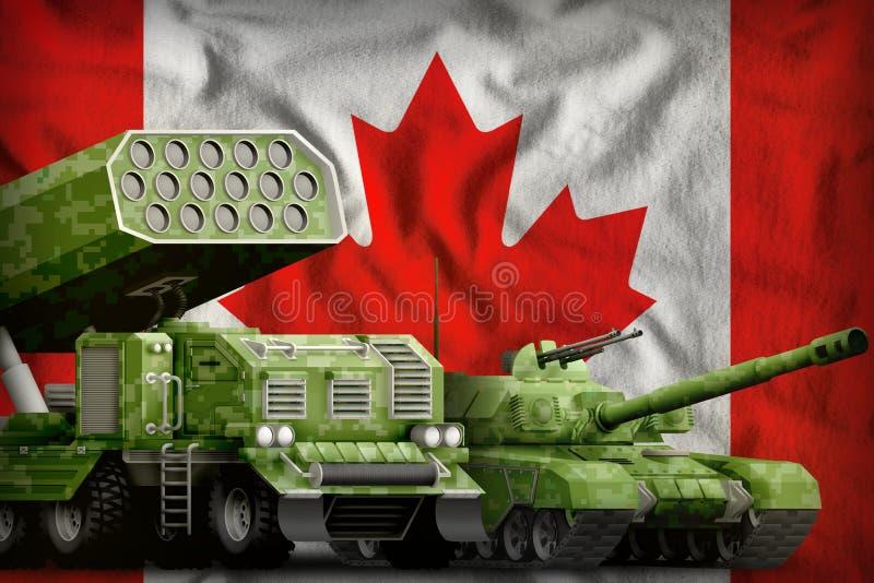 Βαριά στρατιωτική έννοια τεθωρακισμένων οχημάτων του Καναδά στο υπόβαθρο εθνικών σημαιών τρισδιάστατη απεικόνιση απεικόνιση αποθεμάτων