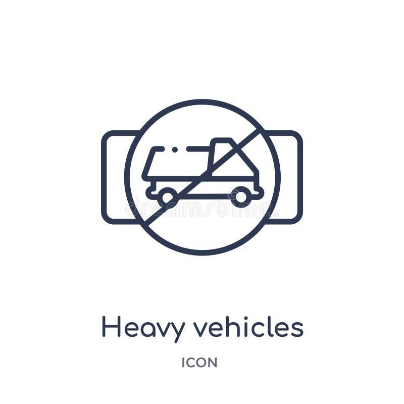 βαρύ μην εικονίδιο οχημάτων από τη συλλογή περιλήψεων μεταφορών Λεπτό μην εικονίδιο οχημάτων γραμμών βαρύ που απομονώνεται στο λε διανυσματική απεικόνιση