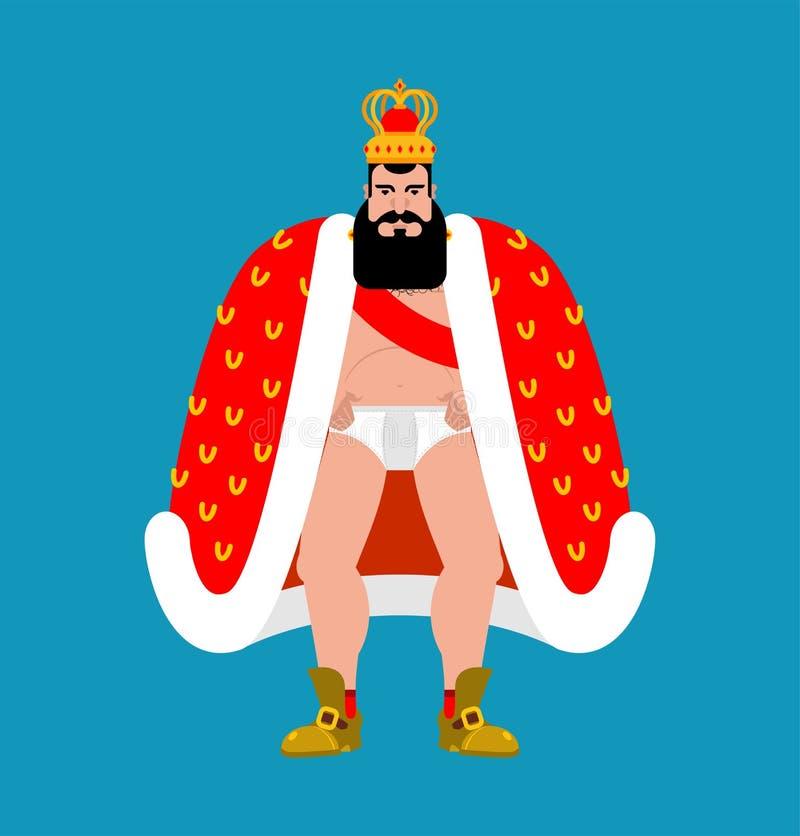Βασιλιάς που απομονώνεται γυμνός πρίγκηπας στις κιλότες διάνυσμα ελεύθερη απεικόνιση δικαιώματος