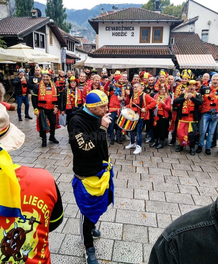 Βελγικοί οπαδοί ποδοσφαίρου στο Σαράγεβο στοκ φωτογραφία με δικαίωμα ελεύθερης χρήσης