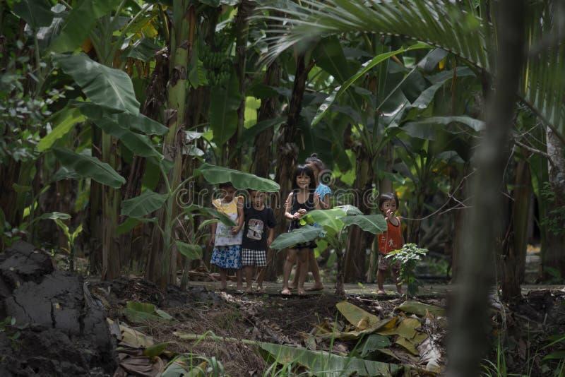 Βιετναμέζικα παιδιά που παίζουν και που χαμογελούν στη ζούγκλα, Mekong, Βιετνάμ στοκ φωτογραφίες με δικαίωμα ελεύθερης χρήσης