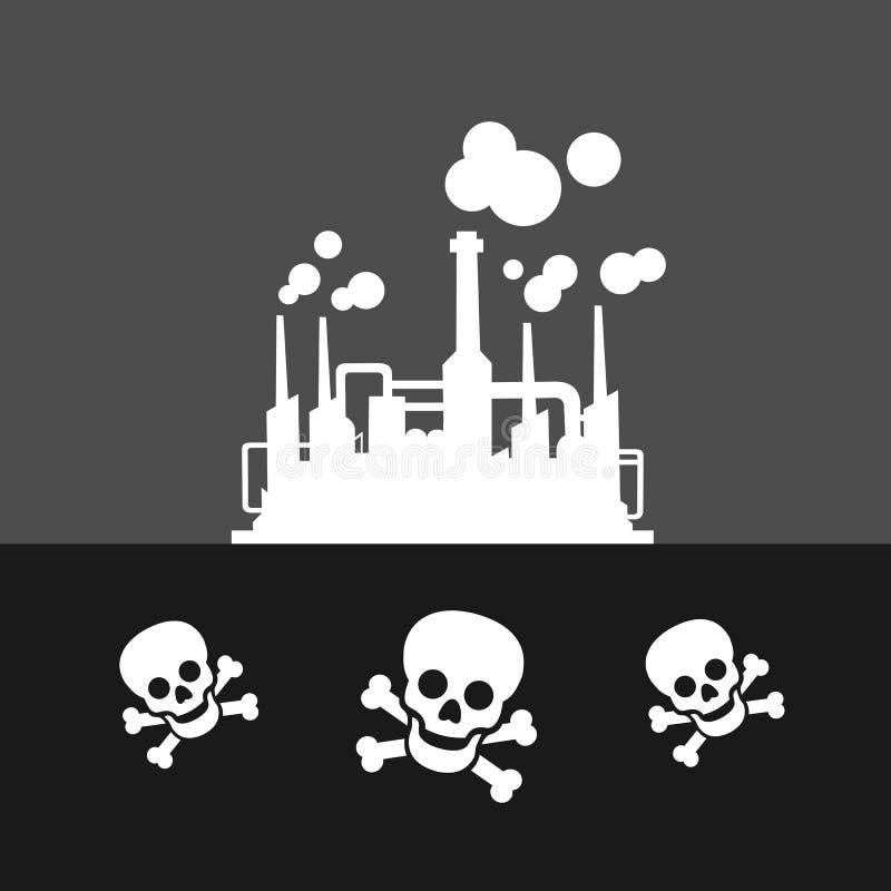 Βιομηχανική περιοχή με το επικίνδυνο εργοστάσιο απεικόνιση αποθεμάτων