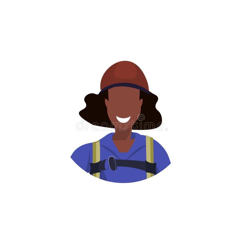 Βιομηχανικός ορειβάτης ειδώλων προσώπου γυναικών αφροαμερικάνων στα ομοιόμορφα επαγγελματικά θηλυκά κινούμενα σχέδια έννοιας επαγ διανυσματική απεικόνιση