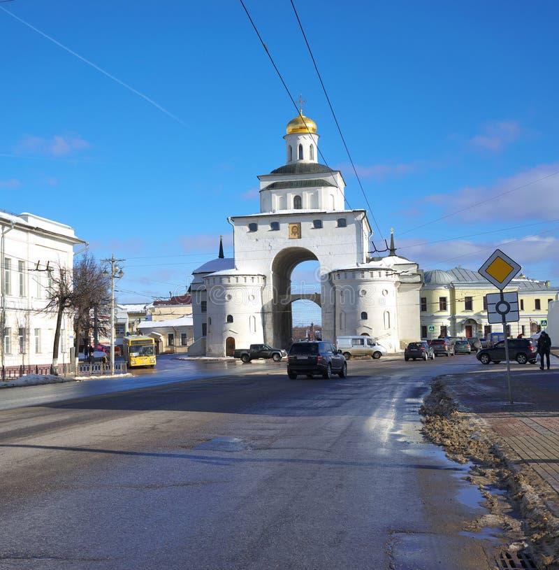 Βλαντιμίρ, Ρωσία - 16 Φεβρουαρίου 2019 χρυσή πύλη - το σύμβολο της αρχαίας πόλης του Βλαντιμίρ στοκ εικόνες