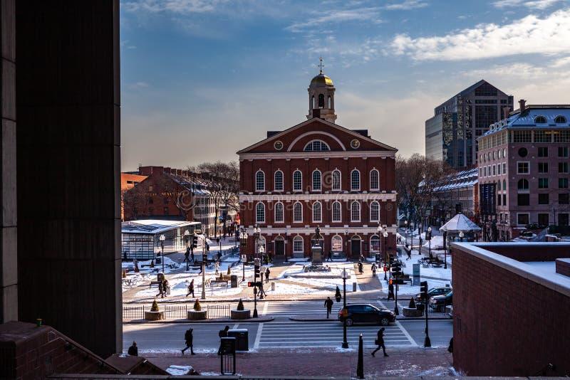 Βοστώνη, ΗΠΑ 1 Μαρτίου 2019: Η κοινωνία Bostonian διατηρεί μια βιβλιοθήκη και ένα μουσείο μέσα στην παλαιά Βουλή στοκ φωτογραφία με δικαίωμα ελεύθερης χρήσης