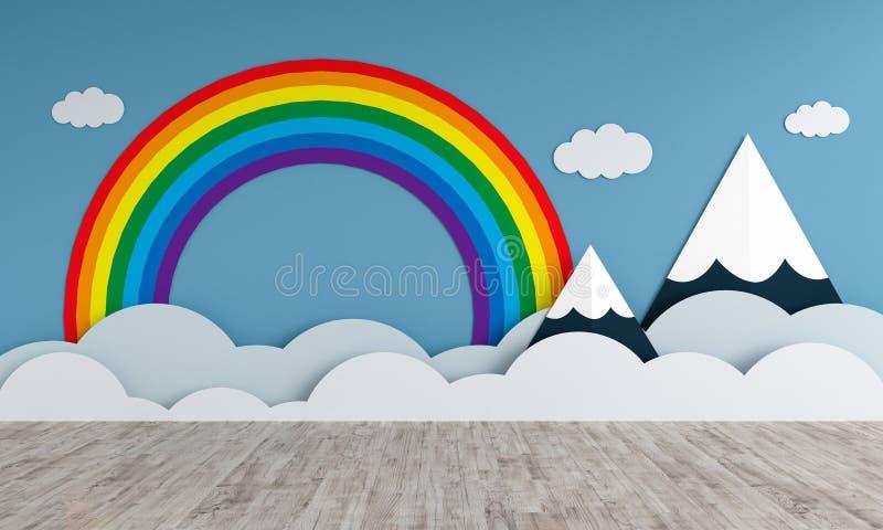 Βουνά και ουράνιο τόξο στο κενό δωμάτιο παιδιών για το πρότυπο, τρισδιάστατη απόδοση απεικόνιση αποθεμάτων
