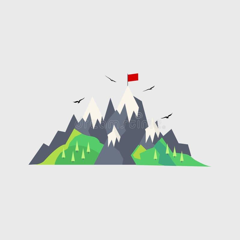 Βουνό, σημαία Ταξίδι επίσης corel σύρετε το διάνυσμα απεικόνισης 10 eps διανυσματική απεικόνιση