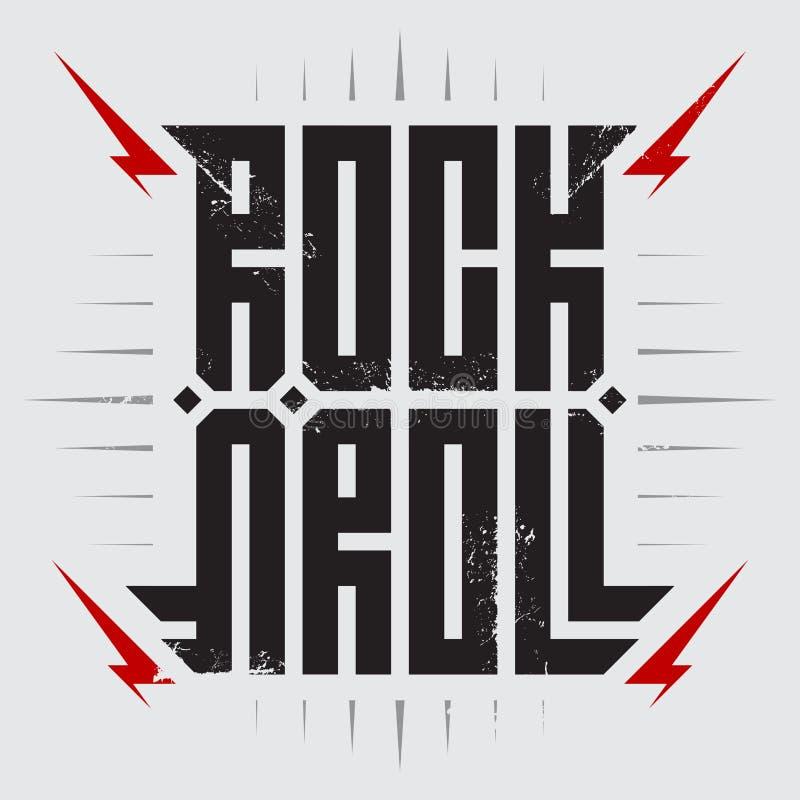 Βράχος - και - ρόλος - αφίσα μουσικής με την κόκκινη αστραπή Βράχος - και - ρόλος - σχέδιο μπλουζών Οι ενδυμασίες μπλουζών δροσίζ διανυσματική απεικόνιση