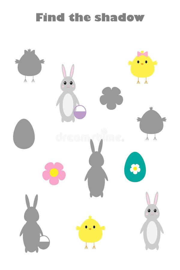 Βρείτε τη σκιά, παιχνίδι Πάσχας για τα παιδιά, νεοσσός, λαγουδάκι, αυγό στο ύφος κινούμενων σχεδίων, παιχνίδι εκπαίδευσης για τα  διανυσματική απεικόνιση