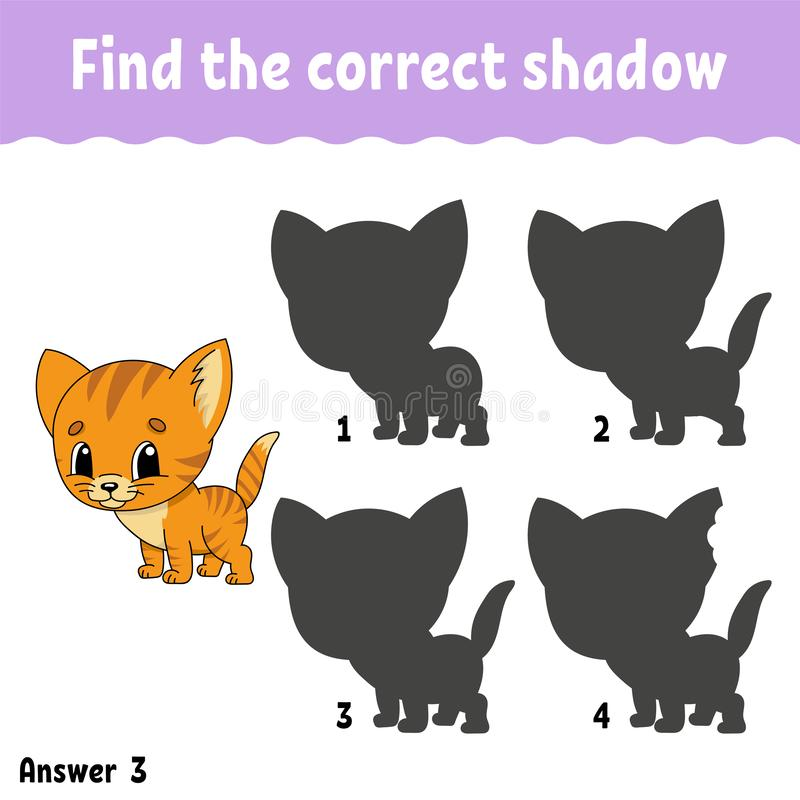Βρείτε τη σωστή σκιά σύρετε μια γραμμή Εκπαίδευση που αναπτύσσει το φύλλο εργασίας κατσίκια παιχνιδιού Σελίδα δραστηριότητας Γρίφ διανυσματική απεικόνιση