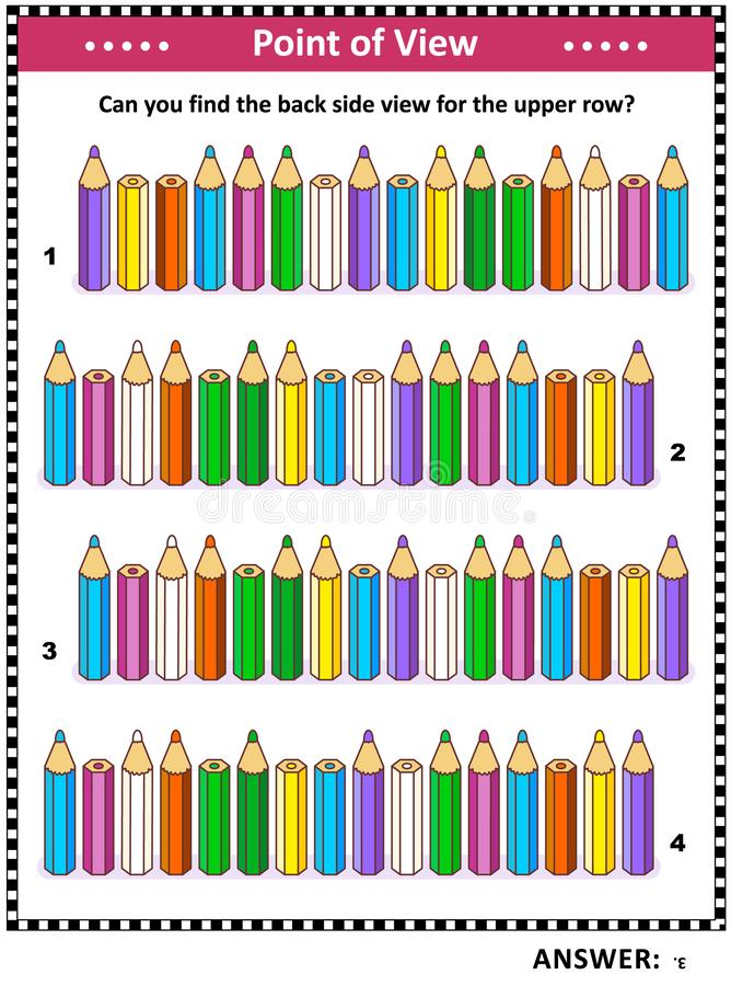 Βρείτε τον πίσω οπτικό γρίφο πλάγιας όψης με τα χρωματισμένα μολύβια ελεύθερη απεικόνιση δικαιώματος