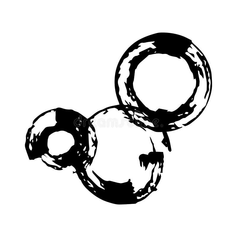 Βρώμικοι στρογγυλοί κύκλοι μελανιού διανυσματική απεικόνιση