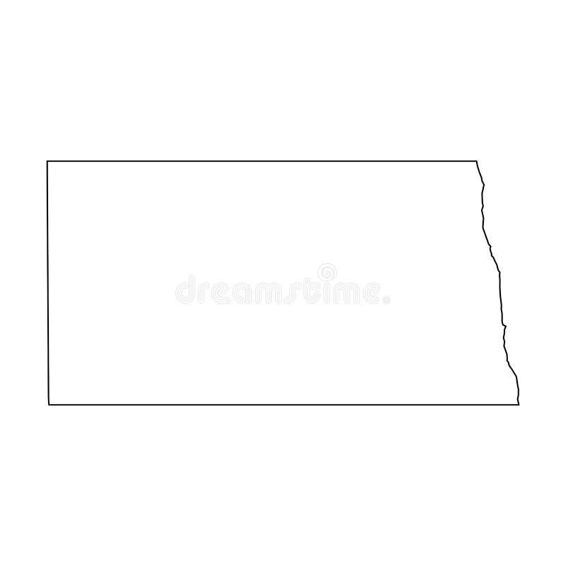Βόρεια Ντακότα, κατάσταση των ΗΠΑ - στερεός μαύρος χάρτης περιλήψεων της περιοχής χωρών Απλή επίπεδη διανυσματική απεικόνιση ελεύθερη απεικόνιση δικαιώματος