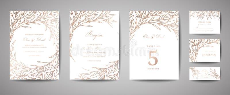 Γάμος πολυτέλειας εκτός από την ημερομηνία, συλλογή καρτών πρόσκλησης με τα χρυσά φύλλα φύλλων αλουμινίου και στεφάνι Διανυσματικ απεικόνιση αποθεμάτων
