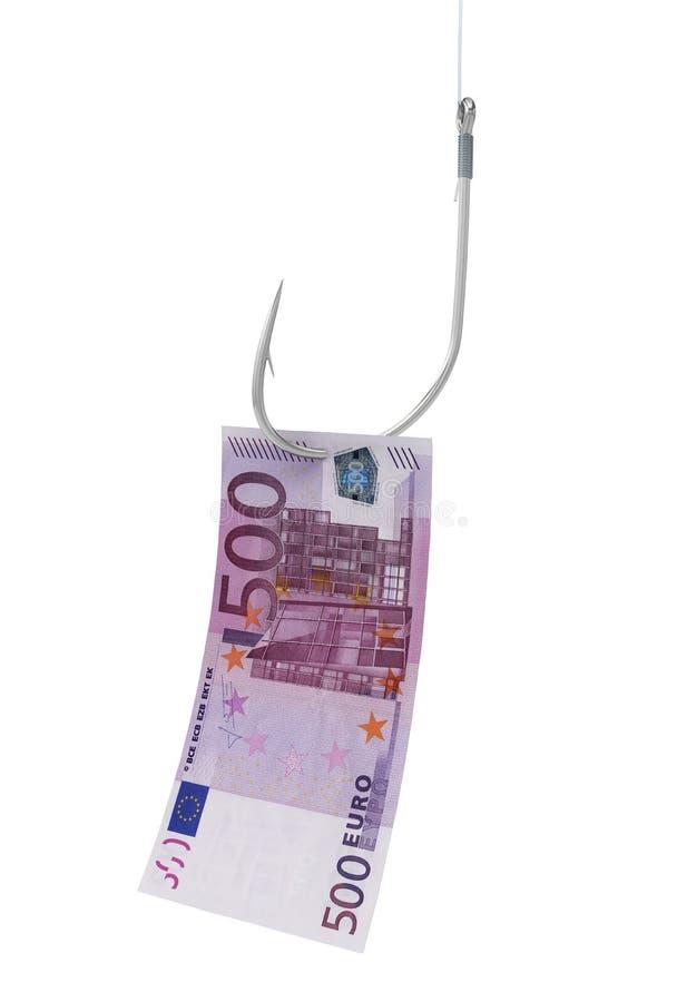 Γάντζος που αλιεύει το ευρο- τραπεζογραμμάτιο χρημάτων απεικόνιση αποθεμάτων