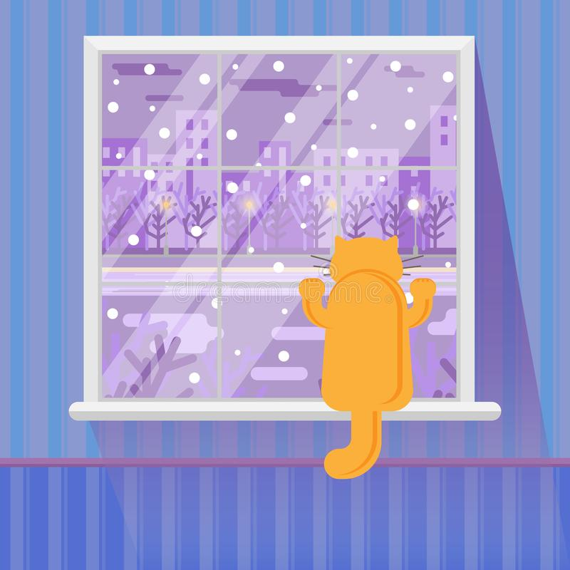 Γάτα στο παράθυρο Στοιχεία του εσωτερικού Παράθυρο με το χειμερινό τοπίο βράδυ επίσης corel σύρετε το διάνυσμα απεικόνισης διανυσματική απεικόνιση