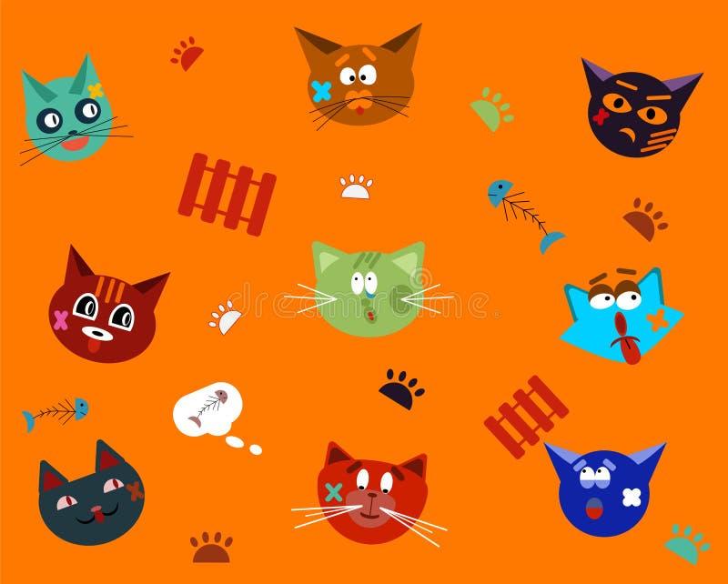 Γάτες που τραυματίζονται αστείες στις πάλες με τους αδελφούς μου Κολάζ των προσώπων γατών διανυσματική απεικόνιση