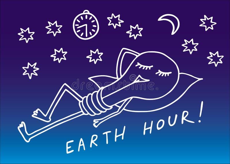 Γήινη ώρα Ύπνοι λαμπτήρων μεταξύ των αστεριών σε ένα μπλε υπόβαθρο ήλιος σκιαγραφιών ακτίνων s ψαριών σχεδίων συμβολικός διάνυσμα απεικόνιση αποθεμάτων