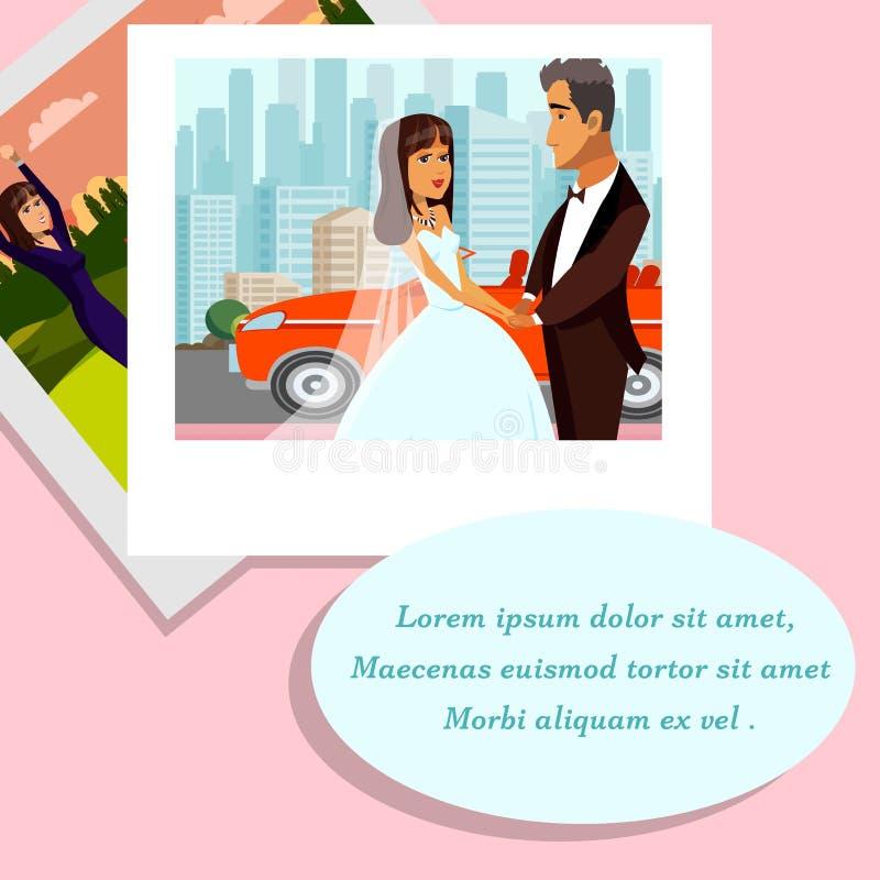 Γαμήλιες μνήμες, διανυσματική απεικόνιση λευκωμάτων φωτογραφιών ελεύθερη απεικόνιση δικαιώματος