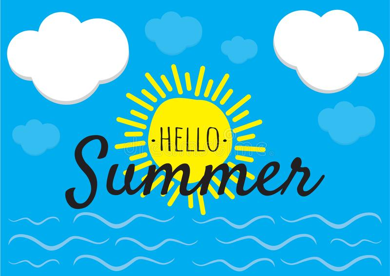 Γειά σου καλοκαίρι - διάνυσμα, που διατυπώνει το σχέδιο, τον ήλιο, τον ουρανό με τα σύννεφα και τη θάλασσα με την απεικόνιση κυμά ελεύθερη απεικόνιση δικαιώματος