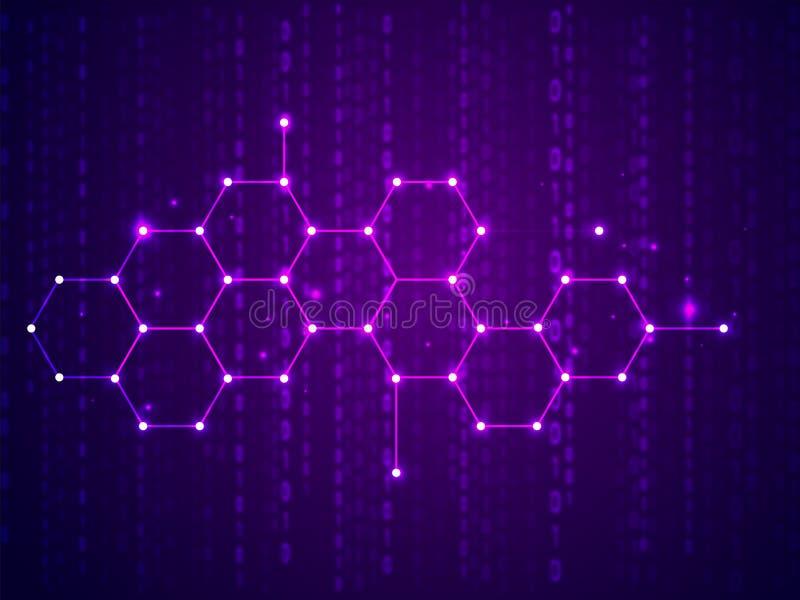 Γεια ψηφιακή έννοια τεχνολογίας τεχνολογίας, λαμπρά hexagons στην κωδικοποίηση μητρών διανυσματική απεικόνιση