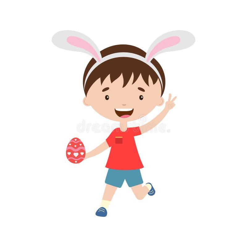 Γελώντας τρέχοντας αγόρι άνοιξη με τα αυτιά λαγουδάκι με το αυγό Πάσχας ελεύθερη απεικόνιση δικαιώματος
