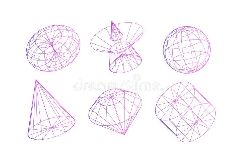 Γεωμετρικές αφηρημένες μορφές Διακοσμητικά στοιχεία για τα προγράμματα σχεδίου Επίπεδοι αριθμοί περιγράμματος στο διάνυσμα που απ στοκ εικόνες