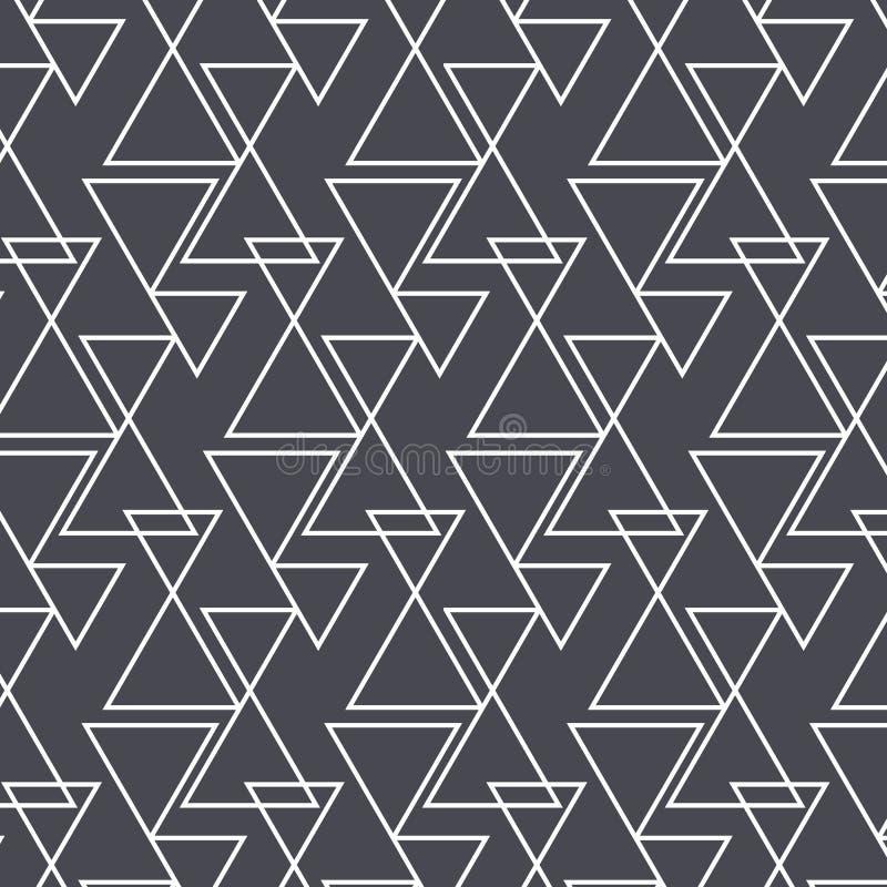 Γεωμετρικό διανυσματικό σχέδιο, που επαναλαμβάνει το γραμμικό τρίγωνο στο διαφορετικό μέγεθος γραφικός καθαρός για το ύφασμα, ταπ διανυσματική απεικόνιση