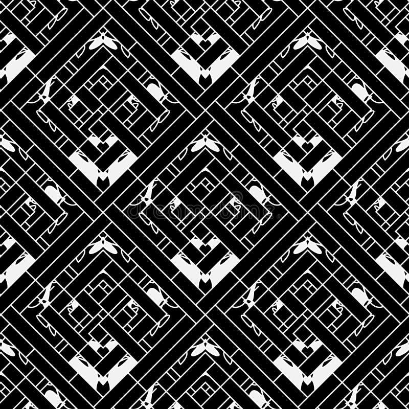 Γεωμετρικό ριγωτό διακοσμητικό διανυσματικό άνευ ραφής σχέδιο Διακοσμητικό γραπτό αφηρημένο γεωμετρικό υπόβαθρο Κομψός επαναλάβετ ελεύθερη απεικόνιση δικαιώματος