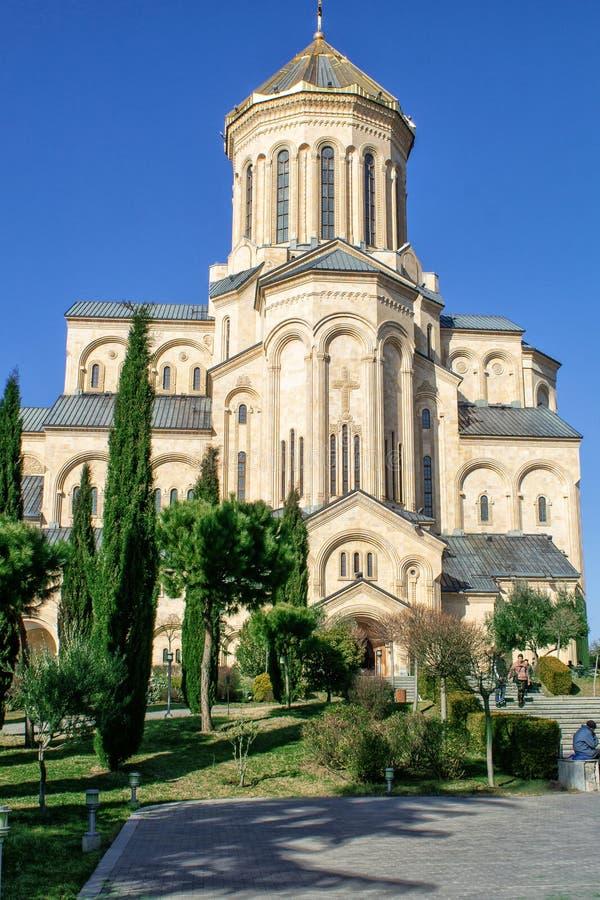 Γεωργία, Tbilisi Ο κύριος καθεδρικός ναός της της Γεωργίας ιερής τριάδας Tsmind Sameba ναών Ορθόδοξων Εκκλησιών στοκ φωτογραφίες με δικαίωμα ελεύθερης χρήσης